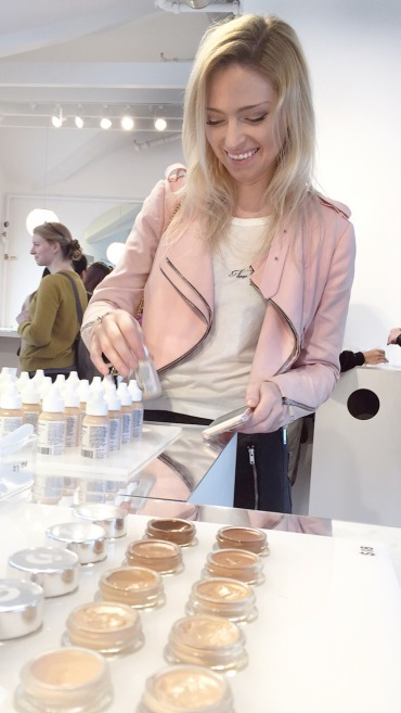 Pink jacket was the perfect piece to wear for a showroom like Glossier's