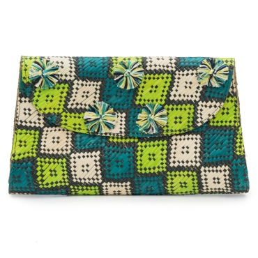 Woven Square Print Clutch
