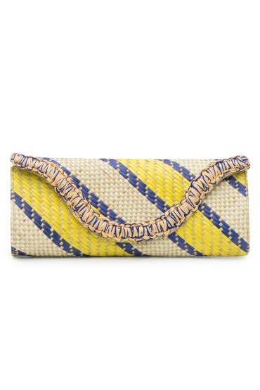 Woven Striped Print Clutch